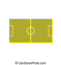 Soccer field. Vector. Yellow icon with square pattern duplicate