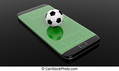 Soccer field with ball on smartphone edge display, isolated on black.