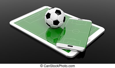 Soccer field with ball on smartphone edge and tablet...