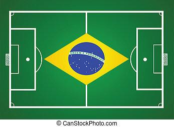 soccer field with Brasil flag