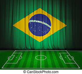 Soccer field with flag of Brazil on green curtain