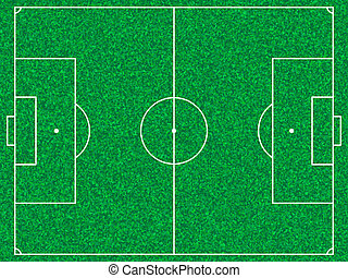 Template realistic soccer field with lines and gate on the ...