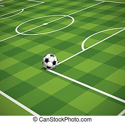 Soccer field with the ball vector illustration