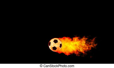 Soccer fireball in flames on black background, HD render ...