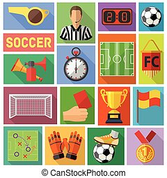 Soccer Flat Icon Set - Soccer and Football Flat Icon Set for...