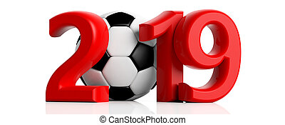 Soccer, football 2019. Red new year 2019 with soccer ball isolated on white background. 3d illustration