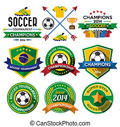 Soccer ( Football ) badge and labels.Illustration eps10