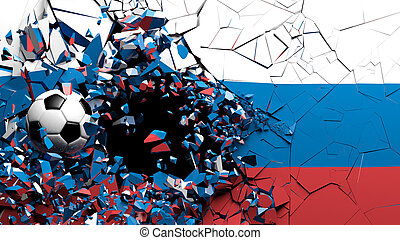 Soccer football ball breaking though wall with Russia flag. 3d illustration