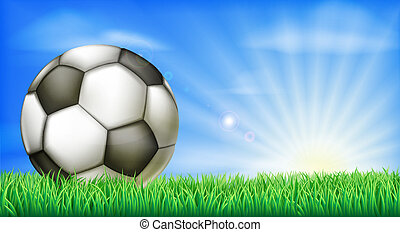 Soccer football ball on pitch - A soccer football in a green...