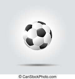 Soccer football ball on white background with shadow