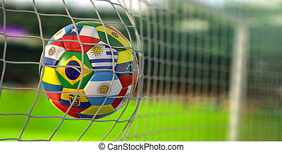 Soccer Football ball with flags of south america countries in net on football stadium. America championship 2021.