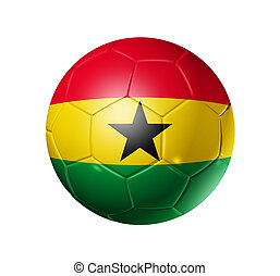 3D soccer ball with Ghana team flag, world football cup 2010. isolated on white with clipping path