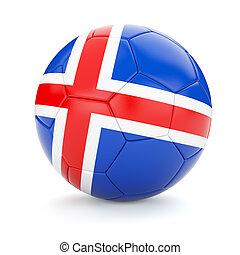 Soccer football ball with Iceland flag