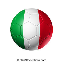 3D soccer ball with Italy team flag, world football cup 2010. isolated on white with clipping path
