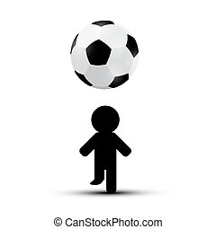 Soccer - Football Ball with Player Man Silhouette