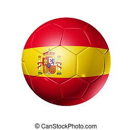 Soccer football ball with Spain flag - 3D soccer ball with...