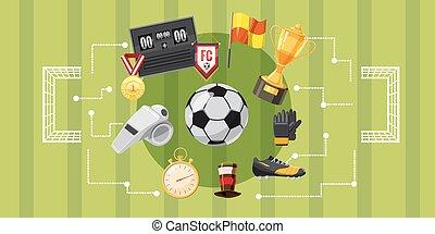Soccer football banner horizontal, cartoon style