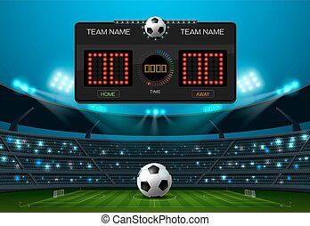 soccer football field with scoreboard and spotlight