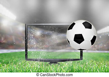 Soccer Football Flying Out of TV Screen in Stadium
