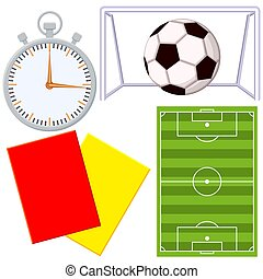 Soccer football game cartoon icon 4 element set