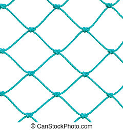 Soccer Football Goal Post Set Net Rope Detail, New Green Goalnet Netting Ropes Knots Pattern, Macro Closeup, Isolated Large Detailed Blank Empty Copy Space Background