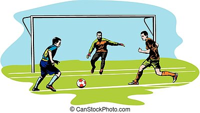 soccer, football - goalmouth action - two soccer players and...