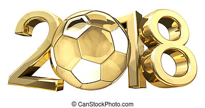 soccer football golden football ball 2018 3d rendering