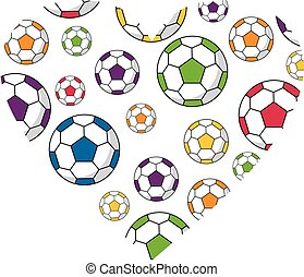 Soccer Football Heart - Cartoon Soccer Footballs inside a...