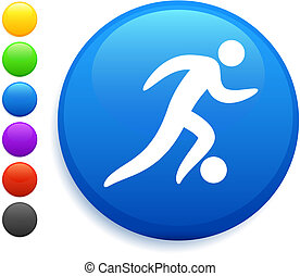 soccer (football) icon on round internet button