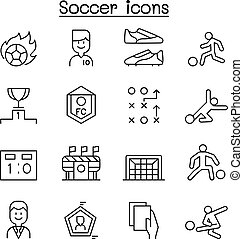 Soccer, Football icon set in thin line style