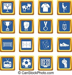 Soccer football icons set blue