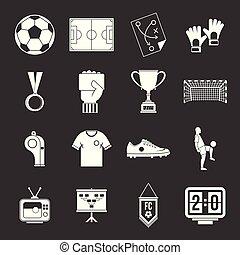 Soccer football icons set grey vector