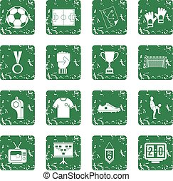 Soccer football icons set grunge