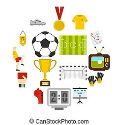 Soccer football icons set in flat style