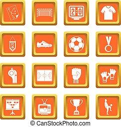 Soccer football icons set orange
