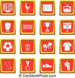 Soccer football icons set red