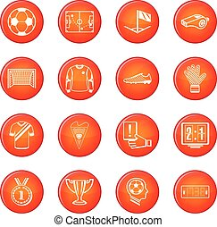 Soccer football icons set red vector