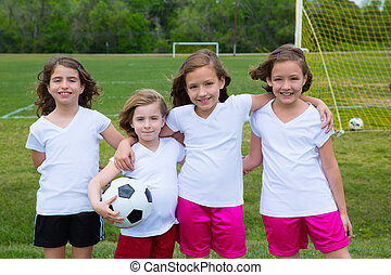 Soccer football kid girls team at sports field - Soccer...