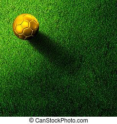 soccer football on grass field - Gold soccer football on...