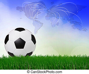 soccer football on green field with blue sky background