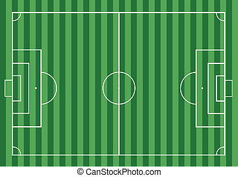 Soccer football on the green grass field.