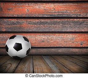 soccer football on wood texture bac
