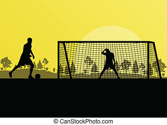 Soccer football player goalkeeper silhouette vector