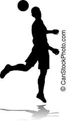 A soccer or football player in silhouette