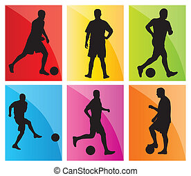 Soccer football player silhouette vector background set for...