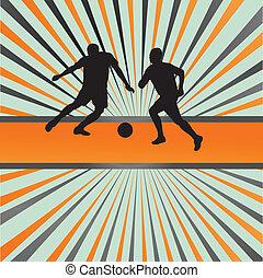 Soccer football player silhouette vector burst background...