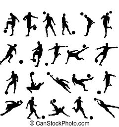 Very high quality detailed soccer football player silhouette outlines.