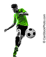 soccer football player young man kicking silhouette