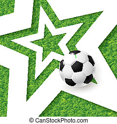 Soccer football poster. Grass background with white star and soc