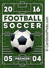 Soccer football poster with field. Vector template
